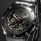New Men's Fashion Skeleton Automatic Mechanical Gunmetal Case Sport Wrist Watch