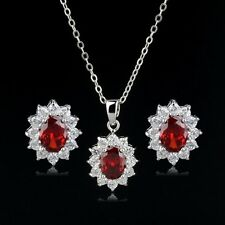 18K WHITE GOLD GP& GENUINE CUBIC ZIRCONIA RUBY RED  NECKLACE & EARRING SET