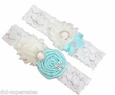 Tiffany Blue Aqua Wedding Garter Set w/ Pearl Rhinestone Bow Lace Vintage Prom