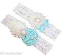 Tiffany Blue Aqua Wedding Garter Set w/ Pearl Rhinestone Bow Lace Vintage Prom
