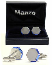 New Men's Cufflinks Cuff Link Rhinestone Formal Wedding hexagon Royal Blue # 22