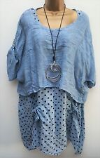 New Italian Lagenlook 2 pc Blue Spotty Tunic Dress Linen Top uk 12 14 16 18 20