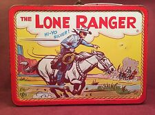 Vintage Adco Liberty Metal Lunchbox The Lone Ranger and Tonto  1954 Collectible