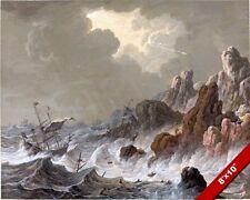 SAILBOAT SHIPWRECK ON A STORMY SEA & ROCKY COAST PAINTING ART REAL CANVAS PRINT