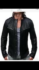 Men's ALL SAINTS REBELL Black Leather Biker Jacket Size L RRP £295 - Slim Fit