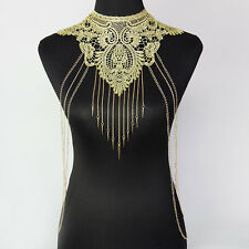 Women Gold Lace Hollow Flower Collar Body Chains Waist Necklace Jewelry