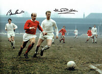 Bobby & Jack CHARLTON Signed Football 16x12 Autograph Club Photo AFTAL COA