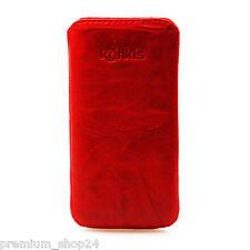 Etui Tasche Slimcase Echt Leder Handytasche für Samsung Galaxy S2 I9100 rot red