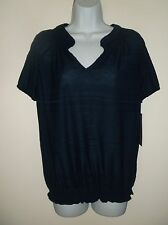 *NWT* DAISY FUENTES~ NAVY POLYESTER TEXTURED STRIPE BANDED WAIST TOP ~ S