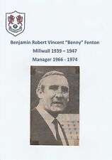 Benny Fenton millwall 1939-1947 Mgr 66-74 rare original signé Journal découpe