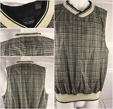 Greg Norman Golf Vest Large Gray Plaid V Neck EUC YGI 34nn