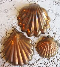 SET OF THREE NAUTICAL SEA SHELL NESTING EARLY ANTIQUE TIN LINED COPPER MOLDS