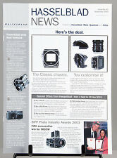 RARE HASSELBLAD NEWS publication Issue40 Sept2003 8 pages Xpan/503CW/H1/Leaf