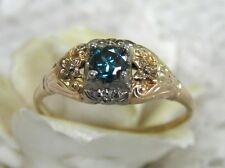 ANTIQUE VINTAGE 14KT GENUINE 1/3CT BLUE DIAMOND DECO FILIGREE ENGAGEMENT RING