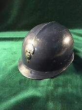 Vintage French Gendarme Riot Helmet with Fiery Bomb Emblem /Liner and Chin Strap