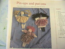 """PINDOLLS~PIN-UPS~PUT-ONS~5"""" awesome cloth art doll pattern from 2000 magazine"""
