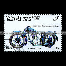 ★ FABRIQUE NATIONALE M67C 1928 ★ (Lao Laos) Timbre Moto Motorcycle Stamp #52