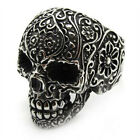 PUNK Mens Black gothic poker skull stainless steel silver flower finger ring A+