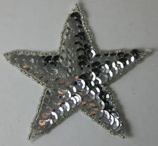 """SILVER STAR Beaded Sequin Patch Emblem Applique 3.25"""" NEW"""