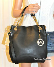 MICHAEL KORS Med Jet Set Chain Black Leather Shoulder Bag Purse NWT