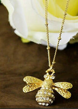 Gold Plated  Rhinestone Queen Bee Pendant Short Brand Necklace