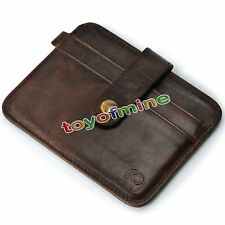 Para Hombre Cuero Money Clip Slim Wallet Id Credit Card Holder Funda