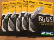 5 x PACKETS YONEX BG65Ti BADMINTON RACKET STRING WHITE GENUINE MADE IN JAPAN