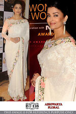 Desire White Georgette Embroidery Work Bollywood Replica Wedding Saree BT-138