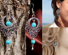 1 Pair Dangle Turquoise Jewelry Womens Earring Tibetan Silver Vintage Drop