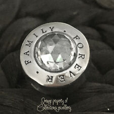 FOREVER FAMILY Charm 925 Solid Sterling Silver Clear Stone Words Message Bead