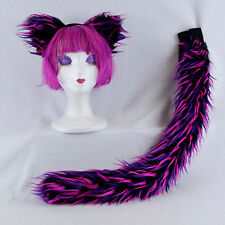 PAWSTAR Kitty cat tail ears combo cheshire fur cosplay furry rave [CHES] 4009