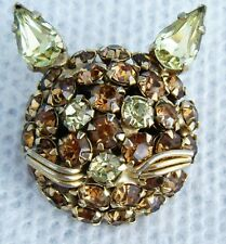 Vintage JAMES WARNER Amber Rhinestone Kitty CAT Pin Brooch