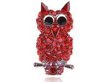 Red Big Eye  Rhinestone Ruby Red Devil Owl Perch Bird Adjustable Ring