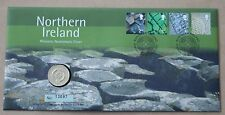 NORTHERN IRELAND PICTORIALS 2001 ROYAL MINT FDC + £1 COIN