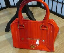 TED BAKER S RED NWOT POLYVINYL PATENT MIDI BOWLER BAG QUILTED ENAMEL PURSE