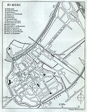 Pianta di Rimini. Carta Topografica,Geografica.Stampa Antica + Passepartout.1891
