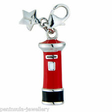 Tingle Pillar Post Box Sterling Silver Charm with Gift Bag and Box SCH221