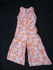 Vintage handmade 1970s woman's orange and white floral sleeveless jumpsuit