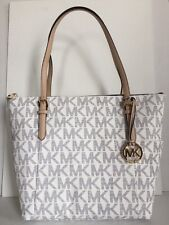 NWT Michael Kors Jet Set East West Zip Tote Signature PVC Navy / White