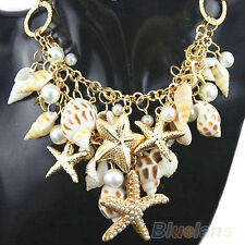 Sweet Nobby Gold Tone Sea Shell Starfish Faux Pearl Bib Statement Necklace B57U