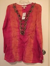 NWT MICHAEL Michael Kors Tie Dyed Embellished Sequin Neckline Top DEFECT $130 L