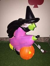 "New Vtg 20"" Union Purple Witch On A Broom Lighted Blow Mold Don Featherstone"