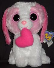 """TY BEANIE BOOS - COOKIE the 9""""  PINK VALENTINE DOG with HEART - MINT w/ MINT TAG"""