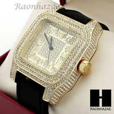 Mens Techno Pave Hip Hop Iced Out Bling Diamond Black Silicone Watch GW189BK