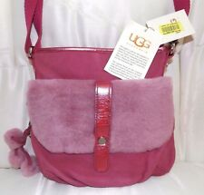 UGG RASPBERRY CROSSBODY WITH FLAP SHOULDER BAG TASSELS $HALF PRICE NEW WITH TAGS