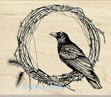 FALL CROW WREATH Wood Mounted Rubber Stamp by INKADINKADO 60-01108 NEW
