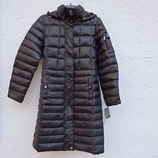 NWT LRL Lauren Ralph Lauren Long Down Puffer Hooded Coat Jacket Womens Black XS