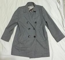 Rare Yves Saint Laurent Paris Wool Coat YSL Grey Double Breasted 38 MADE FRANCE