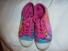 RAINBOW SPARKLE GLITTER SEQUINS TRAINERS SHOES F&F TESCO FLORENCE & FRED MULTI