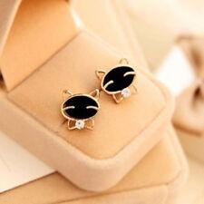 Women's Fashion Black Smile Cat Design Jewelry Rhinestone Ear Stud Earrings